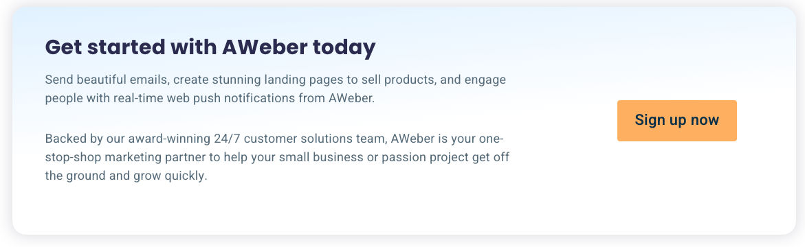 Get started with AWeber today